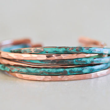 Stacking Bracelets - Mint Patina and Copper Skinnies - 6 Cuffs - Bohemian - Spring Fashion - Boho Chic - Patina Cuffs - Patina Bracelets