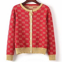 GUCCI Trending Women Stylish Double G Letter Long Sleeve Knit Sweater Cardigan Jacket Coat Red