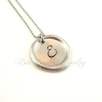 Hand Stamped Jewelry / Wax Seal Pewter Necklace / Wax Seal Pendant Necklace