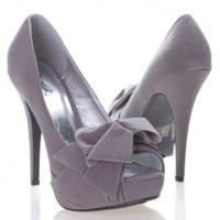 Qupid Women's NYDIA119 Open Peen Toe Bow Platform High Heel Stiletto Pump Shoes, Gray Faux Suede:Amazon:Shoes