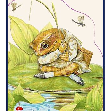 Jeremy Fisher Frog inspired by Beatrix Potter Counted Cross Stitch or Counted Needlepoint Pattern