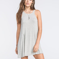 Full Tilt High Neck Swing Dress Heather Grey  In Sizes