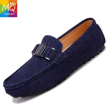 MQ Men's 100% Genuine Leather Driving Shoes,2016 New Moccasins Handmade Shoes,Brand Design Flats Loafers For Men Y232