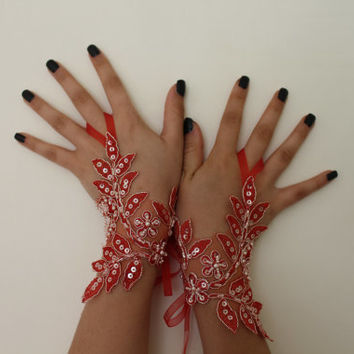 Wedding Gloves,Red Lace Gloves,Bridal glove,fingerless, bridal lace gloves, fingerless gloves