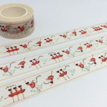 Dancing girl ballerina tape 10M Girl Dance Party Invitations deco washi tape Dance Party sticker tape party planner diary scrapbook gift