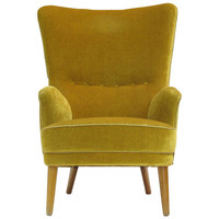 1950s Danish High Back Lounge Chair in Original Mohair