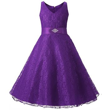 2017 Tulle Tutu Flower Girls Dresses Princess Toddler Baby Kids Clothes Teenager Girl Dress 6 7 8 9 10 Years Birthday Clothing