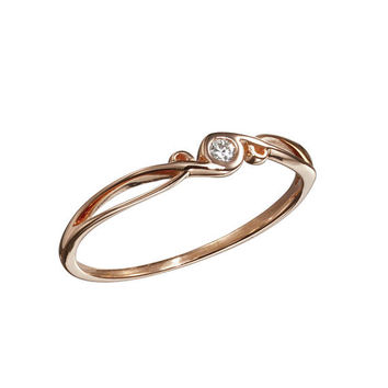 Rose gold engagement ring, wedding band promise ring for her, 14k Rose gold diamond engagement ring, Anniversary band for women, Simple ring