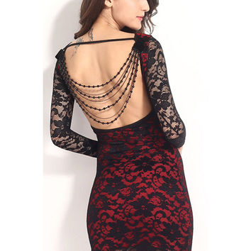 Black Backless Lace Long Sleeve Bodycon Mini Dress