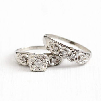 Vintage 14k White Gold .21 CTW Diamond Engagement Ring & Wedding Band Set - Size 6 1/4 Mid Century 1950s Classic Bridal Fine Jewelry