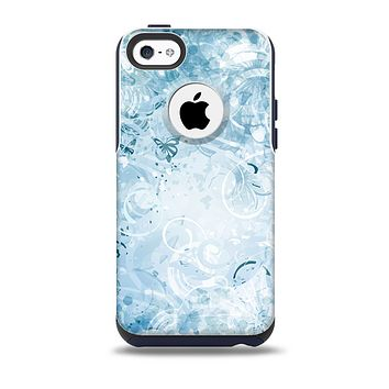 Bright Light Blue Swirls with Butterflies Skin for the iPhone 5c OtterBox Commuter Case