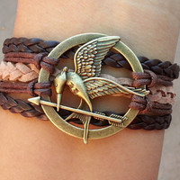 Hunger games letty retro inspired Mockingjay bird bracelet-Katniss's arrow -Antique Silver Bracelet -Christmas gift - Best Chosen Gift