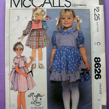 Girl's Ruffles & Lace Dress Toddler Size 3 McCall's 8626 Sewing Pattern Uncut