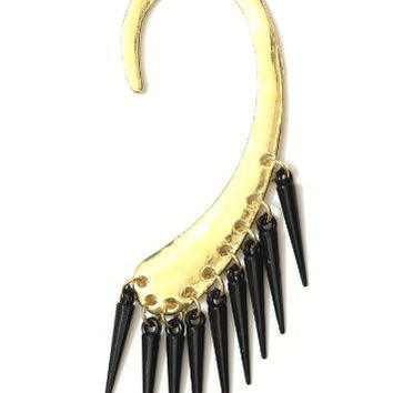 Tribal Spikes Fringe Ear Cuff Gold Tone Metal Wrap CA31 Black Chandelier Earring Fashion Jewelry