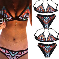 Women's Sexy 2 PCS Digital Print Swimwear Bikini Set Sexy Swimsuit Underwire Beachwear