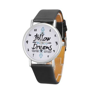 Fashion Casual Watch Clock For Women Follow Dreams Words Letter Pattern Leather Strap Bracelet Watches Relojes Mujer