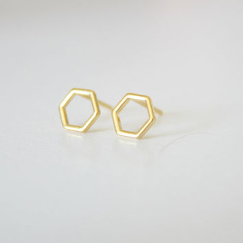 Hexagon earrings - geometric studs - gold studs - tiny studs - small earrings - small stud earrings - minimalist earrings - simple studs