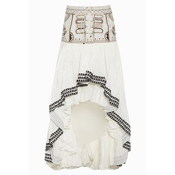 Roya High Waist Ruffle Skirt - Ivory