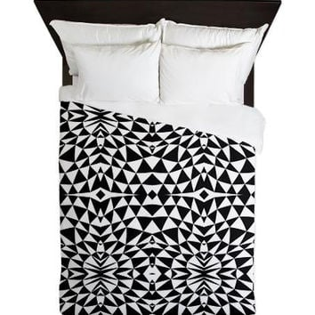 Black And White Queen Duvet Cover - Mix #557 - Ornaart Design