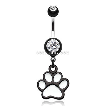 Paw Print Belly Button Ring (Black)