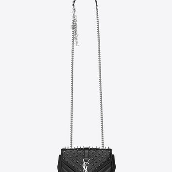 Saint Laurent Classic Baby MONOGRAM SAINT LAURENT Studded Punk Chain Bag In Black Matelassé Leather | ysl.com