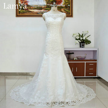 Lace Mermaid Court Train Wedding Dress