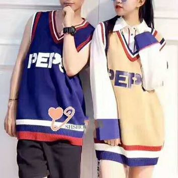 PEPSI Unisex Fashion Casual Sleeveless V Neck Splicing Loose Waistcoat G-A-XYCL