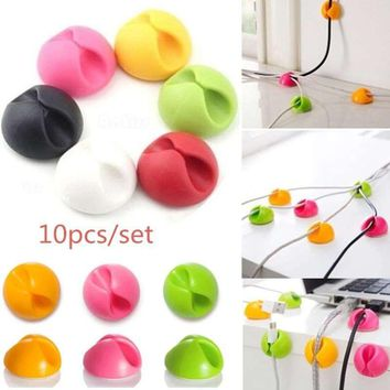 10pcs/set Colorful Winder Clamp Protector Earphone Ties Organizer Data Line Holder