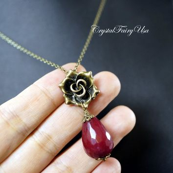 Large Ruby Necklace - Bronze Rose Flower Necklace - Teardrop Ruby Jade Pendant - July Birthstone Necklace