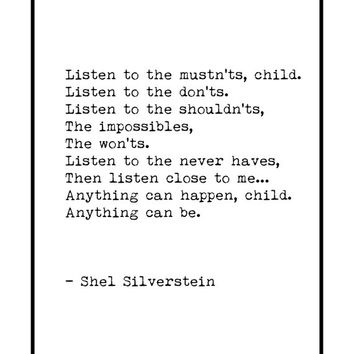 Anything Can Be,  Shel Silverstein , Shel Silverstein Quite,  Wall Art Poster, Nursery Print,  Inspirational Print, Printable Typography