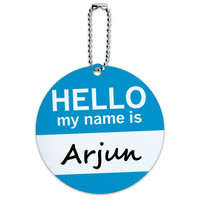 Arjun Hello My Name Is Round ID Card Luggage Tag