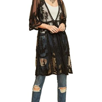 Entro Women's Bohemian Long Floral Lace Kimono Cardigan with Elbow Length Sleeves and Tie Front
