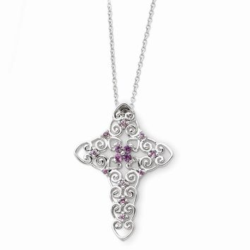 Sterling Silver June CZ Birthstone Message of the Cross 18in Necklace