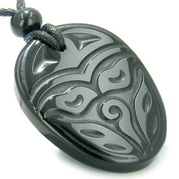 Amulet Ancient Tibetan Buddha All Seeing Third Wisdom Eye Black Agate Pendant Necklace