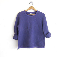 Vintage purple cotton top / sweatshirt. slouchy shirt / size S