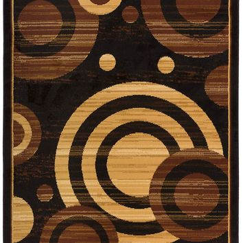5085 Beige Brown Contemporary Area Rugs