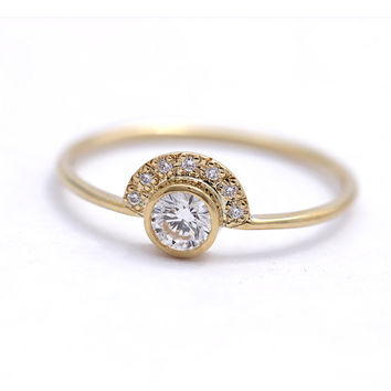 0.3 Carat Diamond Engagement Ring with Pave Diamonds Crown - 0.3 Carat Round Diamond - 18k Solid Gold