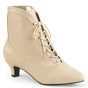"""Fab 1005 Leatherette 2"""" Heel Lace Up Ankle Boot Cream"""