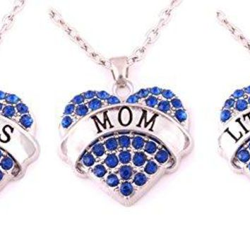 AUGUAU Charm.L Grace Crystal Heart Necklaces Set Mom Big Sis Middle Lil Sister