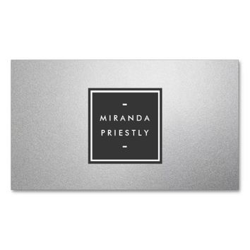 Modern Simple Black and Faux Silver Foil Designer Business Card