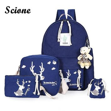 Luxury 6PCS/Set with Cute Little Bear Animal Printing Student School Bag Teenager Girls Bookbags Canvas Backpack Mochila Bolsa
