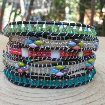 Five wrap bracelet with crystals, Miyuki tila,seed beads, and Czech super duo beads