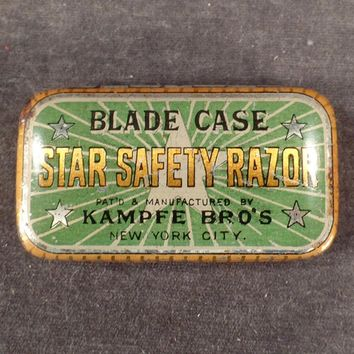 Vintage, Star Safety Razor Blade Case - Tin for Wedge Blades