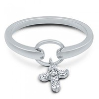 Sterling Silver Cubic Zirconia CZ Dangle Cross Fashion Right Hand Ring #r284