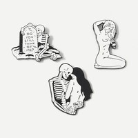 Skeleton & Figure Brooch Set 3pcs
