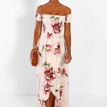 Beach Glam Cream Multi Floral Bardot Wrap Maxi Dress