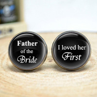 Wedding cufflinks,Father of the bride , I loved her first mens wedding day accessories,men accessories