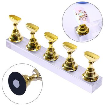 False Nail Tips Display Stand Holder Set Gold Magnetic Showing Shelf Practice Holders Manicure Nail Salon Tools