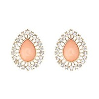 Rhinestone-Trimmed Teardrop Stud Earrings
