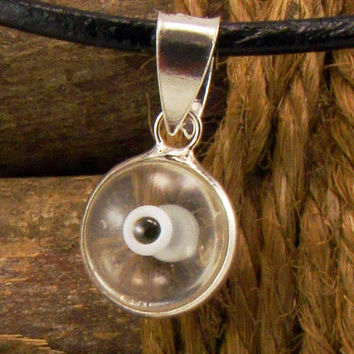 Crystal Clear Evil Eye Necklace Greek Mati Hamsa Nazar 925 Sterling Silver Pendant Charm in Genuine Leather Necklace